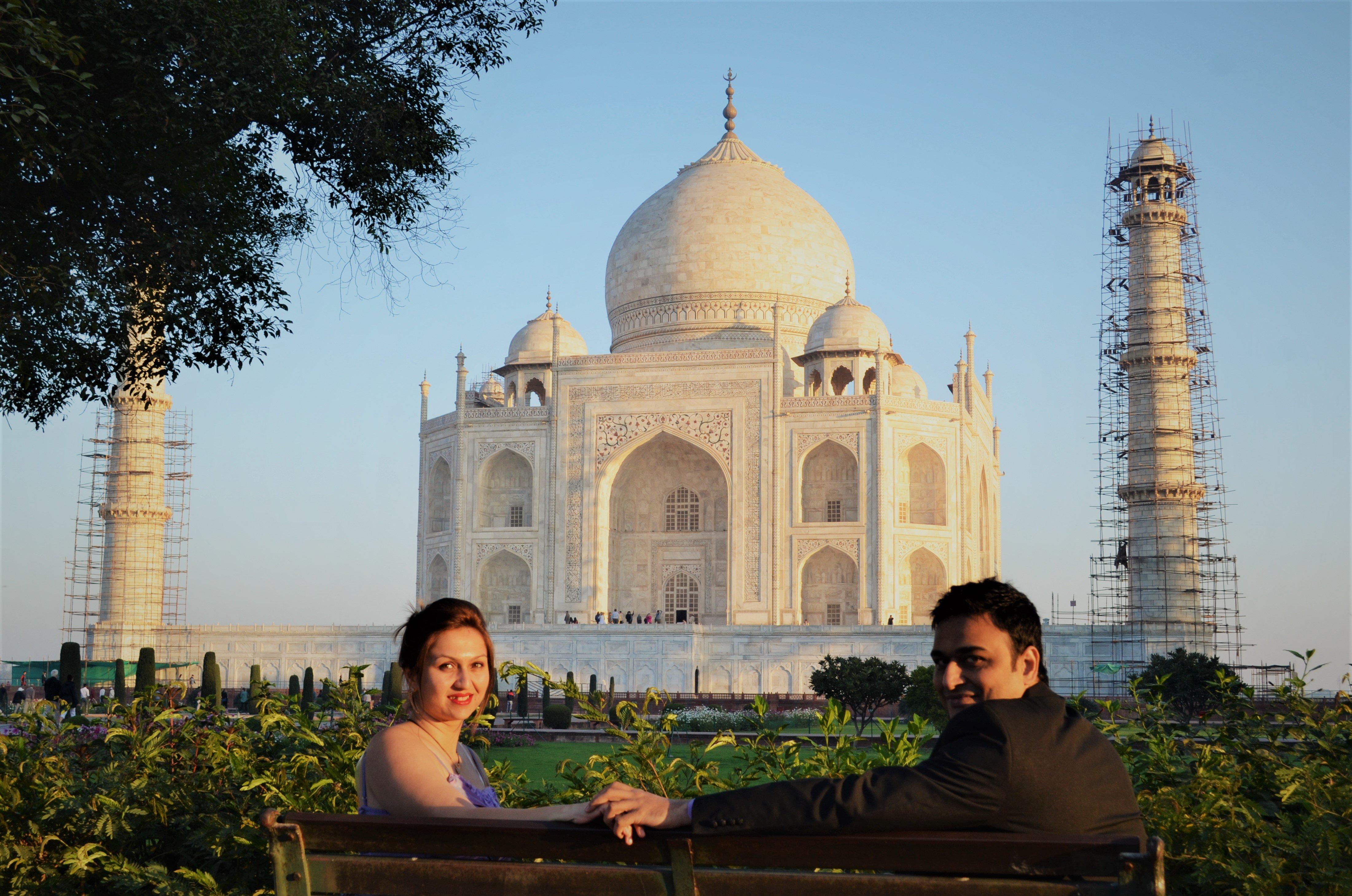 Maya and Rahul at the Taj Mahal