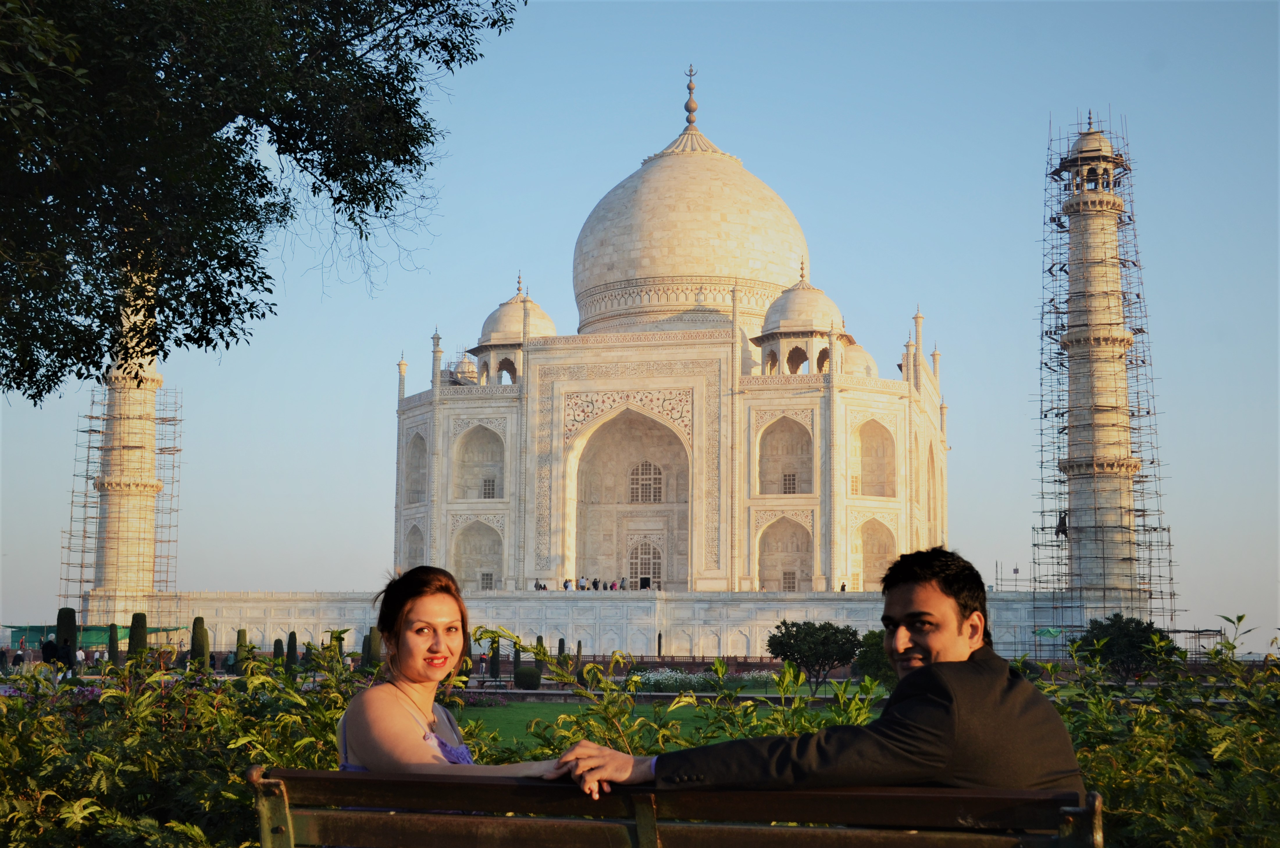 Maya and Rahul at the Taj Mahal